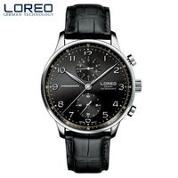 LOREOsimple Elegant 316L Stainless Steel Corrosion Resistant Scratch Resistant Leather 50m Water Resistant Black Men Sport