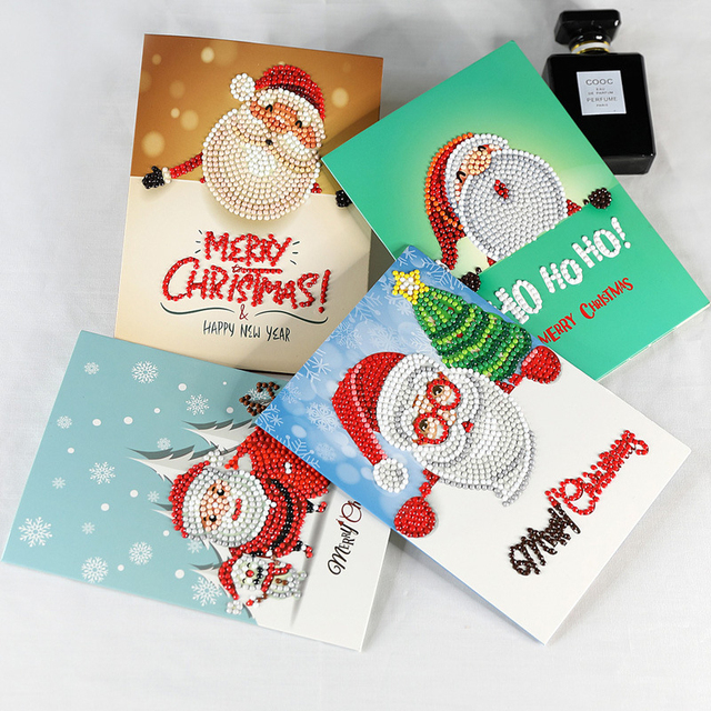 8pcslot christmas 5d card festive birthday new year wishes card creative diy diamond painting