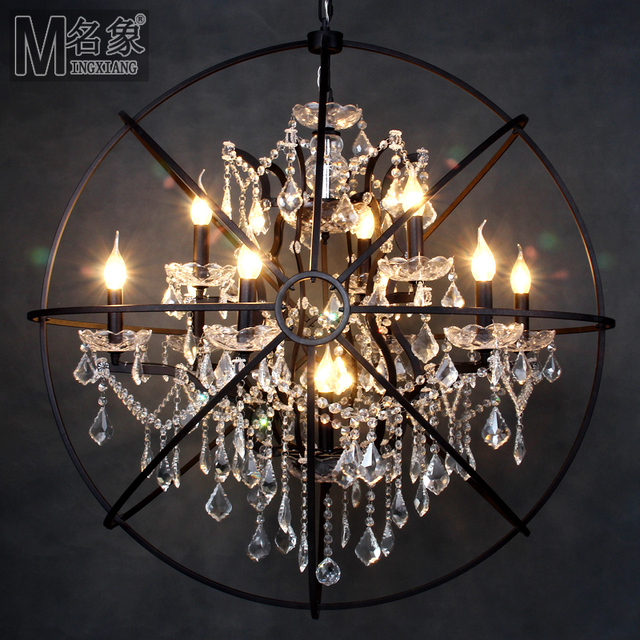 Loft american country nordic retro neo classical european iron loft american country nordic retro neo classical european iron spherical crystal chandelier armillary gyroscope aloadofball Image collections