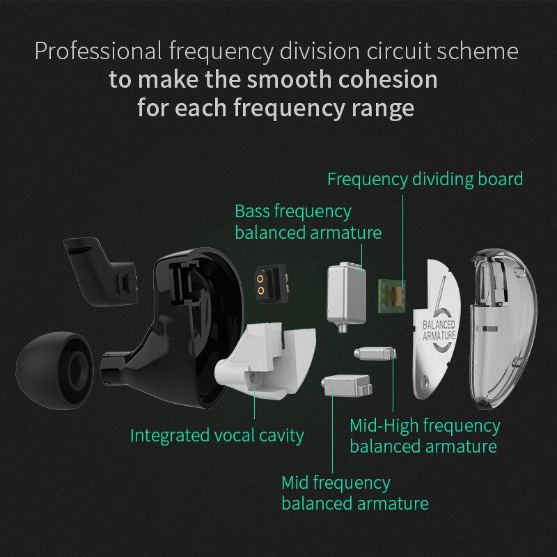 KZ AS06 3BA conducir en el auricular del oído 3 armadura equilibrada desmontable separar 2PIN Cable HIFI Monitor de deportes del auricular de auriculares - 5