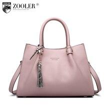 ZOOLER Brand cowhide Leather bags for women 2017 tote elegant handle bag solid leather shoulder bag pink&black bolsos mujer H109