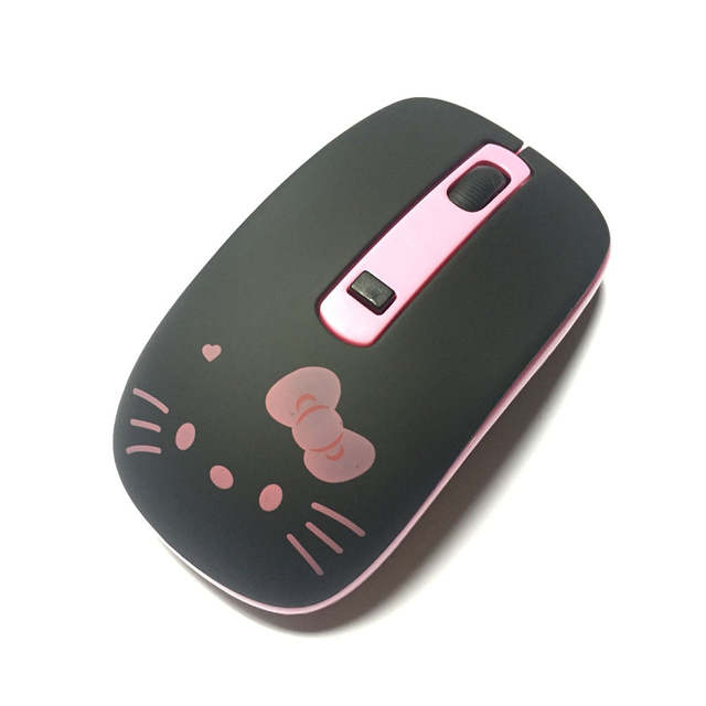 8d37253ea Cute Black Hello Kitty Silent Wireless Mouse Cute KT Computer Mice 2.4GHz  1200DPI Optical Gaming Mouse For PC Laptop-in Mice from Computer & Office  on ...