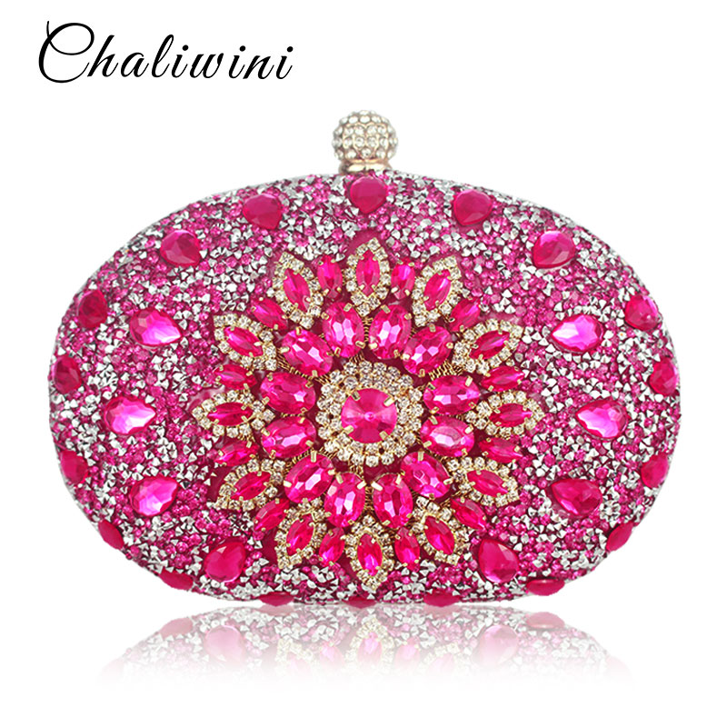 Image 2 - Wedding Diamond Floral Woman Bag Clutch Bag Blue Crystal Handbags Sling Package cell phone pocket Matching Bag Wallet Purse-in Top-Handle Bags from Luggage & Bags
