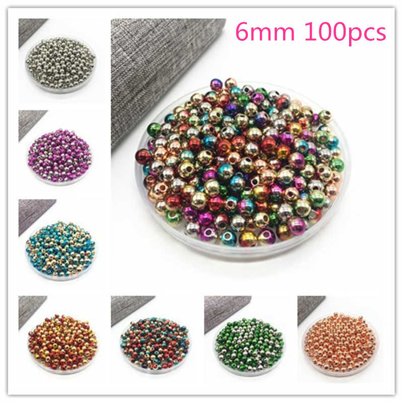 DIY 100/50pcs Acrylic Round Pearl beads Loose Pearl Beads for Necklace Bracelet Jewelry Making