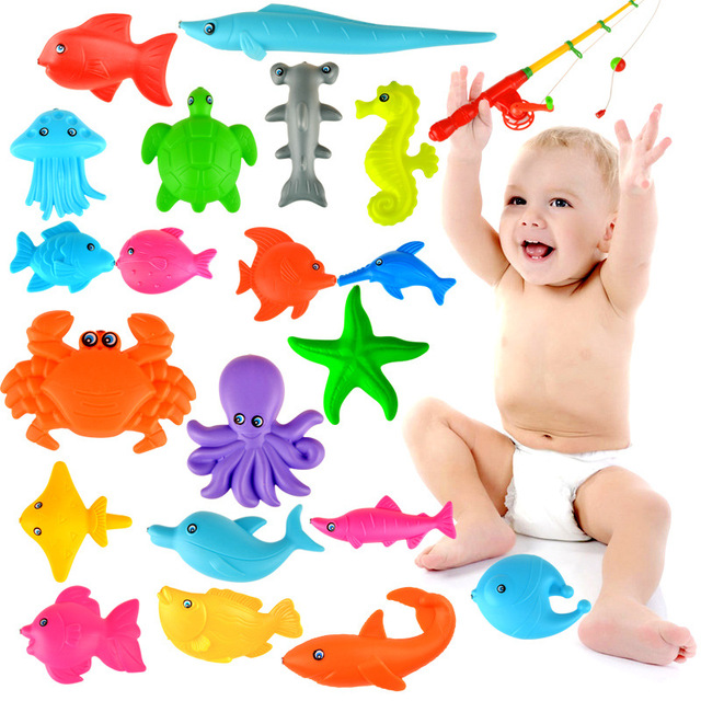 1set Magnetic Fishing Toy Plastic 21 Fishes With Rod Model Educational Toys For Kids S25