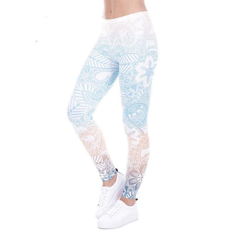 New fashion women's spring and summer wild sexy charming low waist sportswear color simple pattern print   leggings