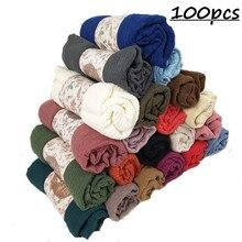 N9 100 piezas de alta calidad mujer hijab arrugas bufanda burbuja viscosa de algodón bufanda arruga simple chal musulmán cabeza bufanda del Hijab