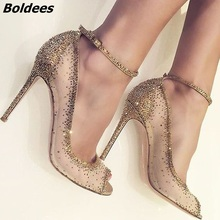 Charming Golden Glittering Crystal Stiletto Heels Fancy Mesh Lace Peep Toe Pumps Concise Women Line Buckle Style Shoes Hot Sell chic silvery pu t strap buckle style heels glittering crystal decorated pointy stiletto heel pumps gorgeous wedding glass shoes