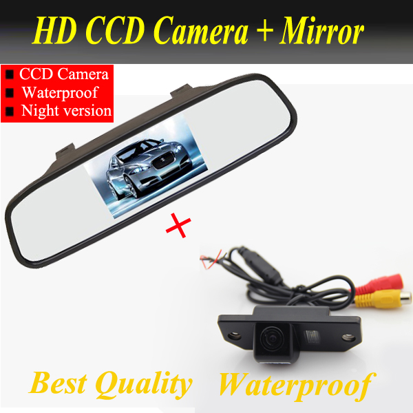 цена на Auto Parking Assistance System 2 in 1 LCD Mirror Car Parking Monitor + Rear view Camera for Ford Focus Sedan | C-MAX | MONDEO