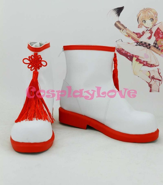 SAKURA KINOMOTO Cosplay Shoes Boots Custom Made red&white
