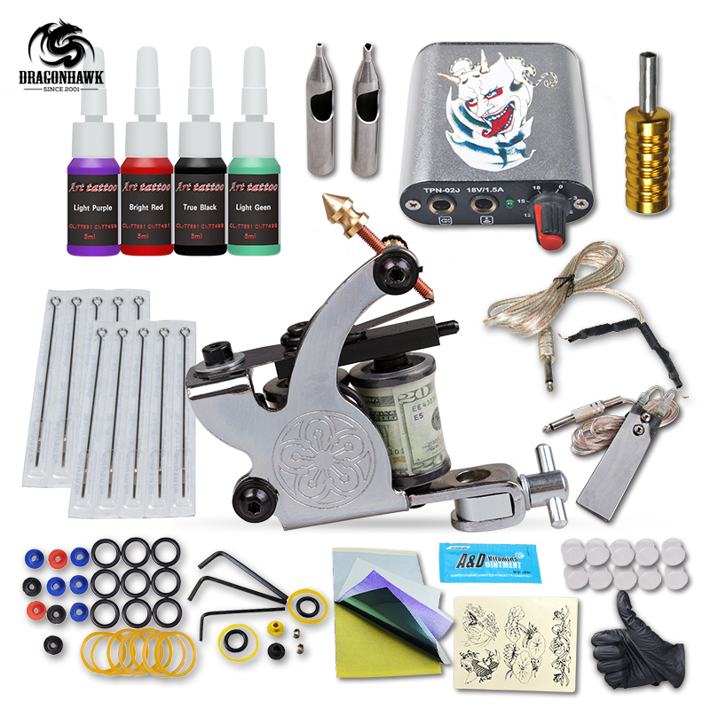 Complete 1 tattoo machine gun 4 color inks power supply for Supplies for tattooing