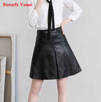 JAS1703 Spring Woman High Waist A Line Genuine Leather Skirt Lady Casual Bust Plus Big Size