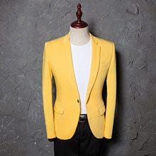 4f1a8ffacd W stylu College pojedyncze piersi żółty garnitur kurtka mężczyźni 2018  jesień nowy Busienss wesele smoking garnitur Blazer Mascu.