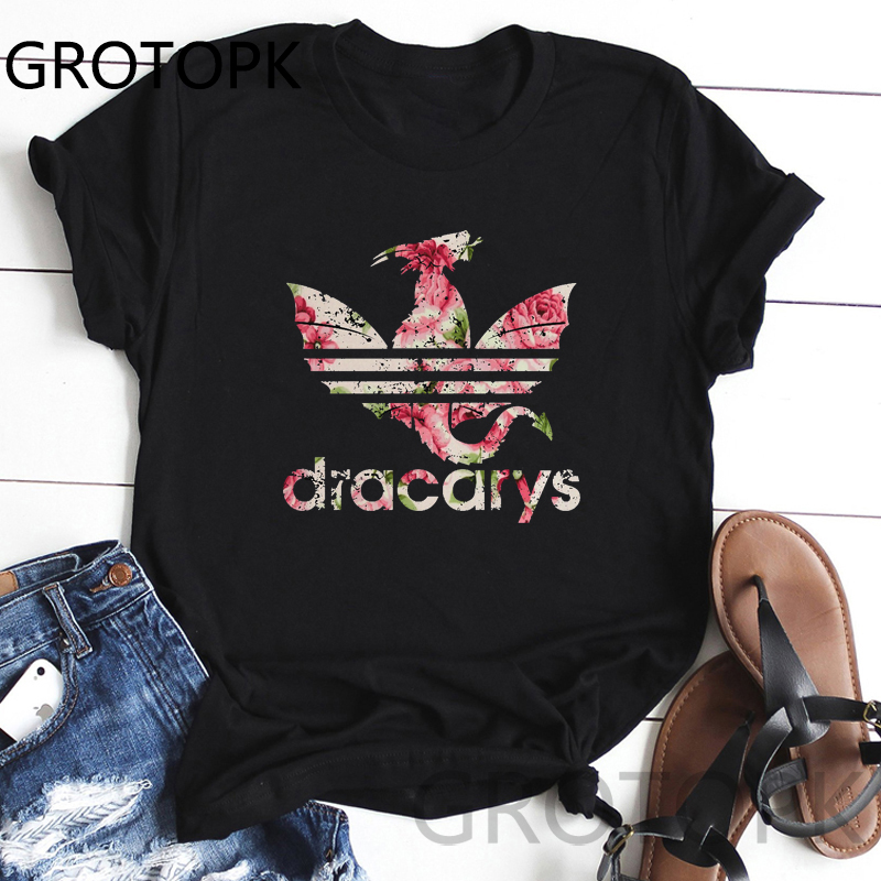New Dracarys Black   T     Shirt   Mother of Dragons Flower   T  -  Shirt   Khaleesi Mom   Shirts   for Women Harajuku Game of Thrones Graphic Tees