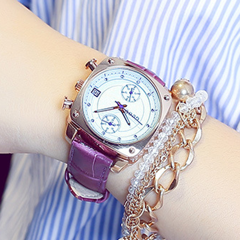 GUOU 럭셔리 골드 숙녀 시계 가죽 여성 시계 자동 날짜 여성 시계 패션 시계 달력 시계 relogio feminino saat
