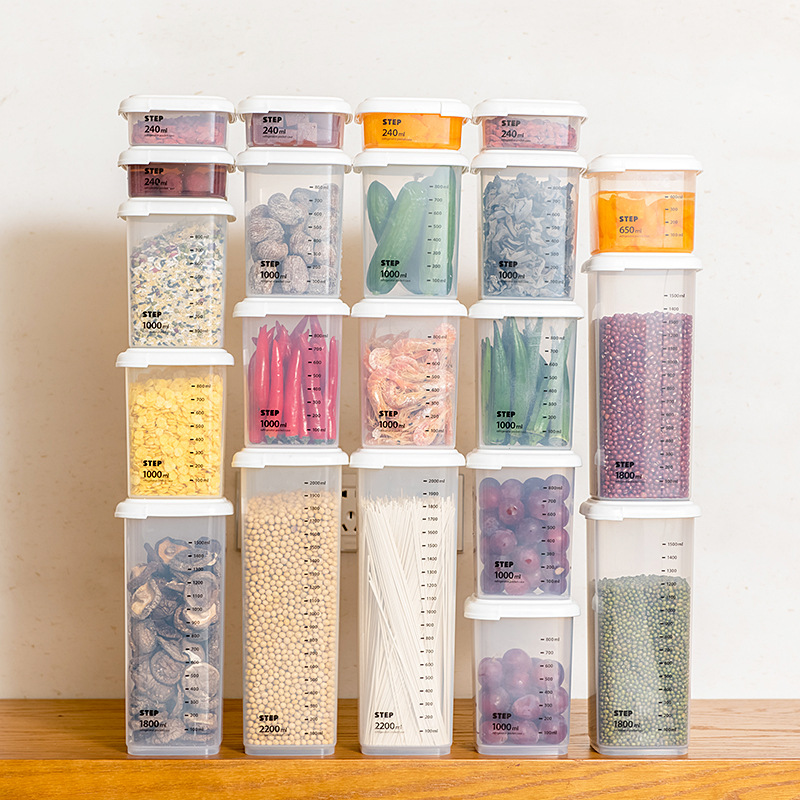 1pcs Plastic Storage Jar Noodle Storage Box With Cover At Home Kitchen Storag Coarse Cereal Box Refrigerator Sealed Crisper