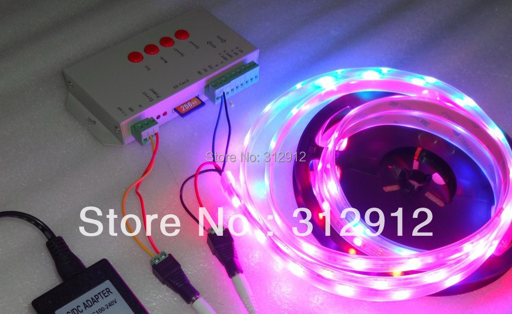 ФОТО 5m DC5V WS2812B led pixel srip,IP68;+T-1000S sd car controller+5V/60W power supply