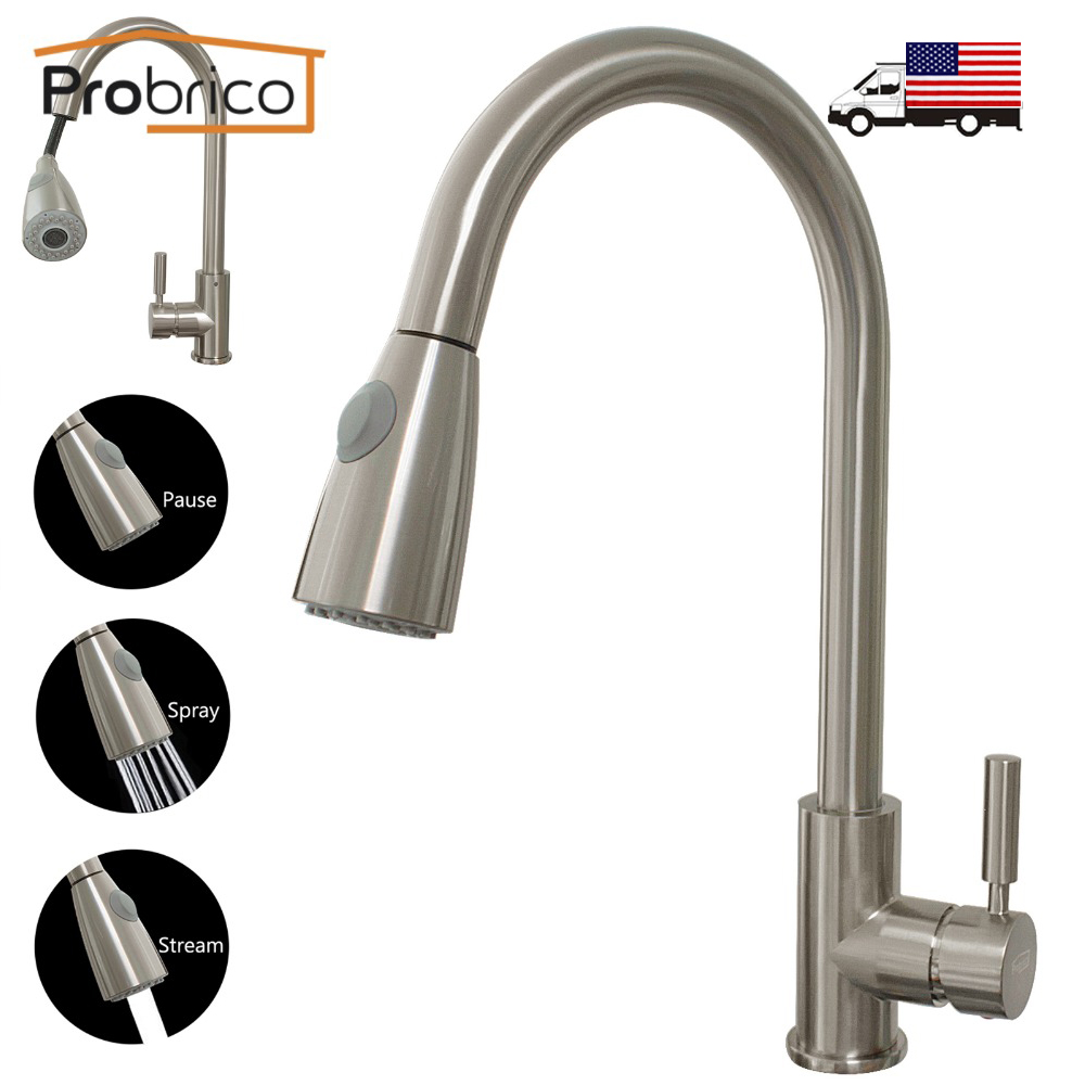 Probrico Brushed Nickel Mixer Water Tap Pull Out Down Swivel Spout Kitchen Sink Faucet Brass KFQY0202SN USA Domestic Delivery new pull out sprayer kitchen faucet swivel spout vessel sink mixer tap single handle hole hot and cold