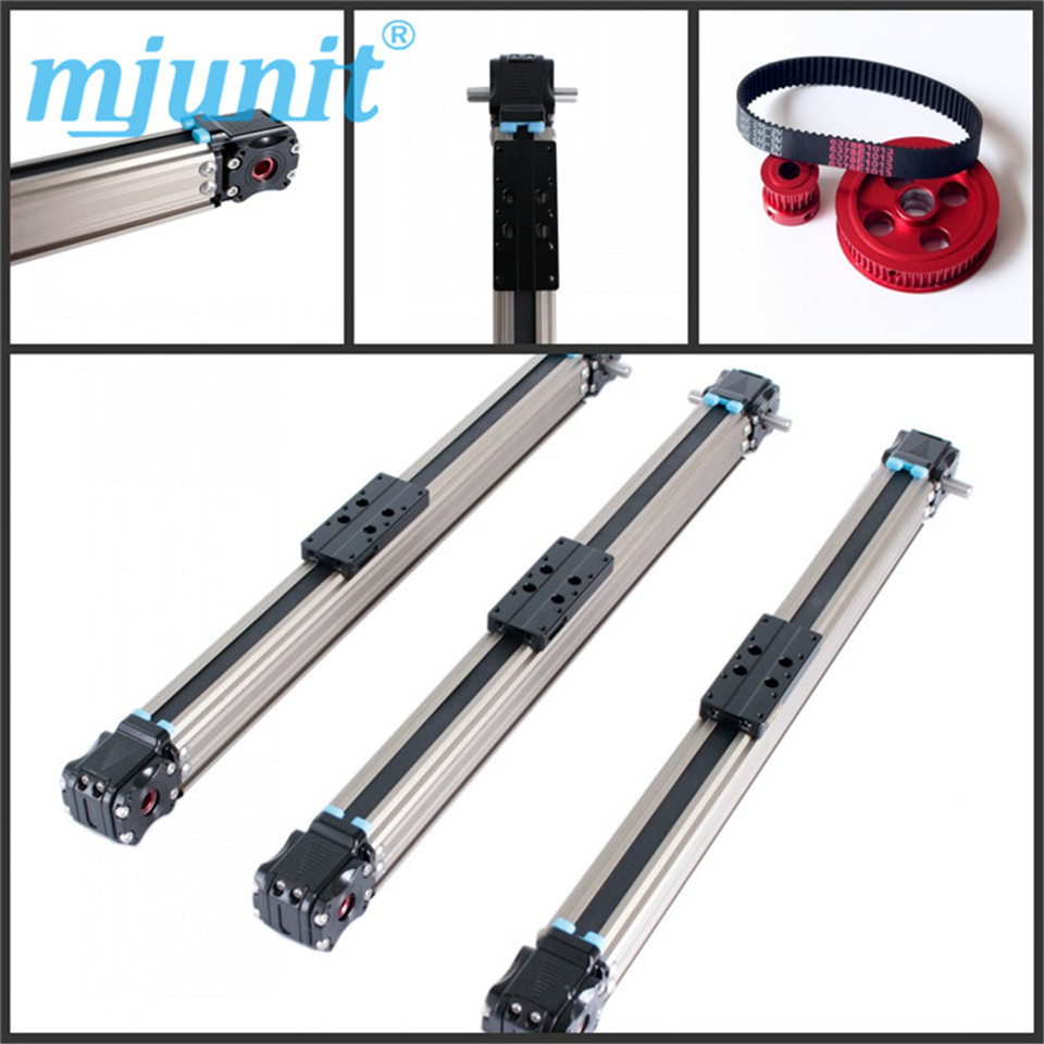 Belt-driven mechanical linear unit with external roller guides.Positioning system belt driven guided linear actuator any travel length linear motion motorized linear stage heavy duty belt driven stage