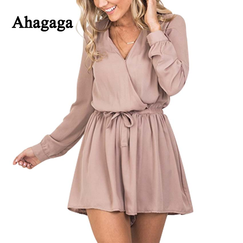 Ahagaga 2017 Summer Autumn Chiffon Rompers Woman Jumpsuits Fashion Loose Women Playsuits Solid Elegant Slim Sexy Women Rompers ...