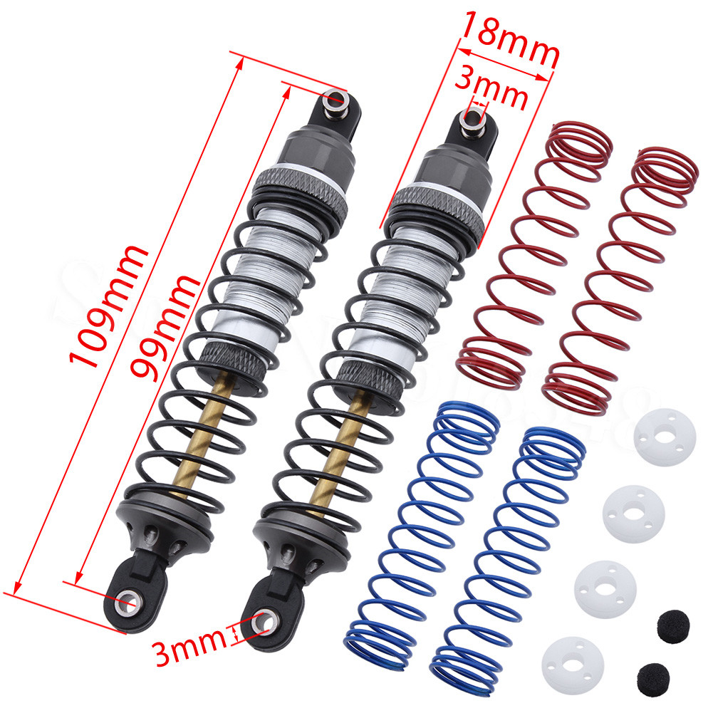 2-Pack 100mm (eye to eye) Adjustable Shock Absorber Dampers w/Springs for Traxxas Trx-4 TRX4 RC Trail Crawler Car Replacement mxfans rc 1 10 2 2 crawler car inflatable tires black alloy beadlock pack of 4