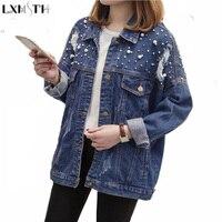 LXMSTH Bahar 2018 Yeni Artı Boyutu Denim ceket Kadın Moda Boncuk delik Gevşek Denim Giyim XL 2XL 3XL 4XL Casual jean Ceket