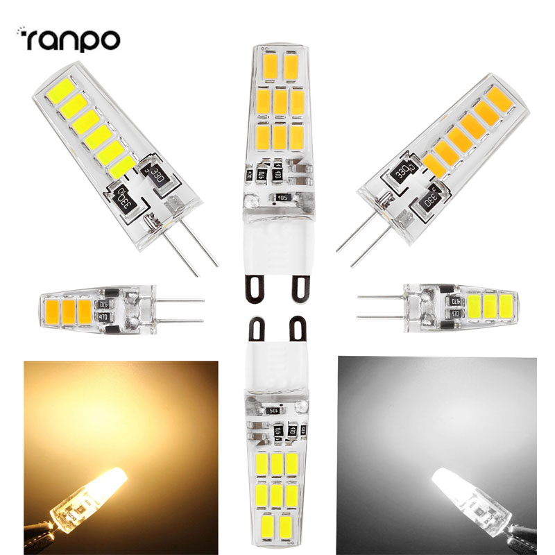 New 3W 5W 6W G4 G9 Corn Light 5733 SMD LED Lights Silicone Crystal Lamps Cool Warm White Bulbs 360 Degree Replace Halogen Lamp