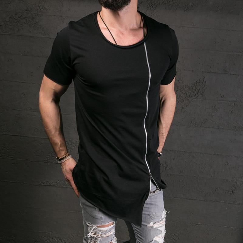 Mens Long Size Casual Zip Hip Hop Shirt Short Sleeve Top Blouse for Summer Fashion!