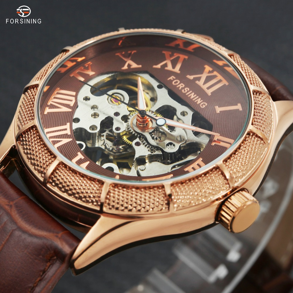2017 Vintage New Men Automatic Mechanical Wrist Watches Luminous Hands Skeleton Roman Numerals Over Size Dial Relogio masculino