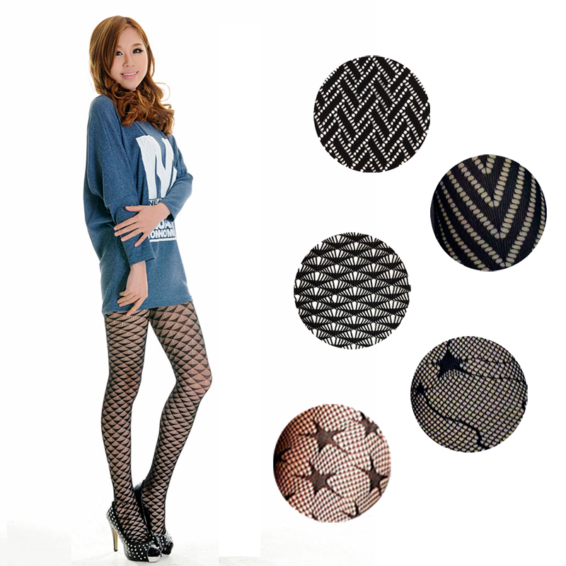 LIMSISNIW Women Modern Design Black Color Hollow Out Fishnet Tights Personalized Pattern Ladies Slim Individual Dobby Pantyhose