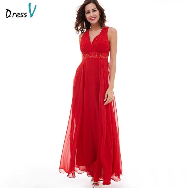 Dressv赤いイブニングドレス安いvネック床の長さノースリーブaラインビーズウェディング