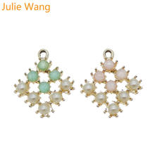 Julie Wang 4PCS Alloy Square Rhinestone CCB Pearl Charms For Neckalce Pendant Earrings Findings DIY Jewelry Making Accessory(China)