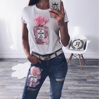 Summer Women Two Set Piece Pink Flower Sequin White T Shirt Ankle Ripped Jeans Woman 2