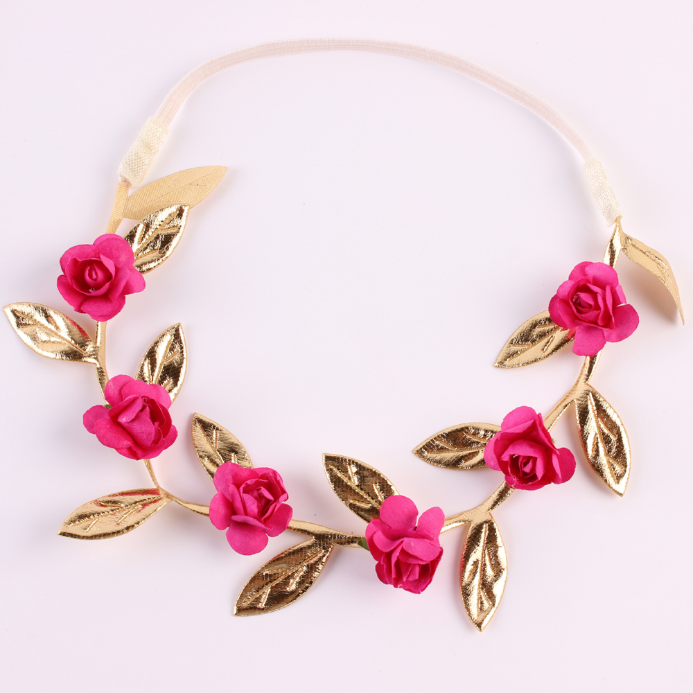 Rose Flower Garland Chic Flower Leaves Girl Headband Elastic
