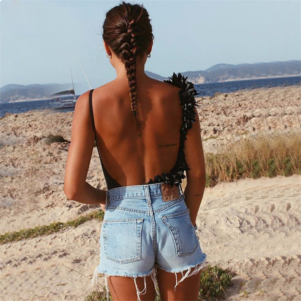 Women Sexy Backless Lace Patchwork Bodysuit Black Sexy Slim Women Club Summer Bodysuit 2018 Sleeveless Skinny Hot Party Bodysuit
