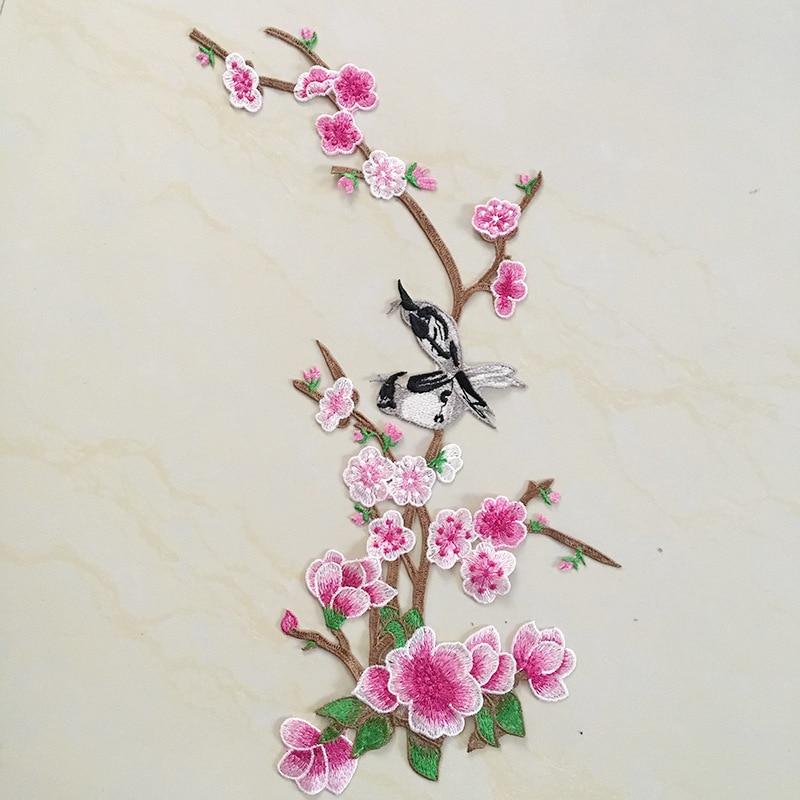 Flower Overjoyed Plum Bird Combination Cloth Sticker Cheongsam National Feng Shui Soluble Hand Seam Garment Accessories