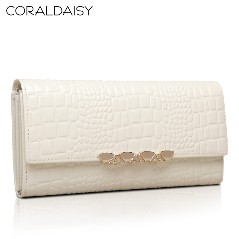 Coraldaisy 2014  Long Design Wallets Three Colors Crocodile Grain Fashion Wallet Leather Wallet Women Genuine Leather Purse