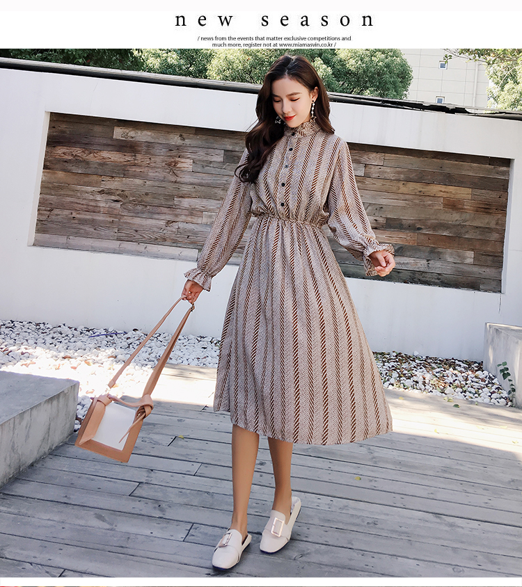 Women chiffon dress 2019 spring autumn female vintage print elegant a-line dress long sleeve loose casual office lady dress 7