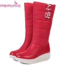 MEMUNIA РАЗМЕР 35-44 Дамы снегоступы клинья каблуки скольжения на женщин зимние сапоги мехом внутрь сапоги до колен сладкие обувь