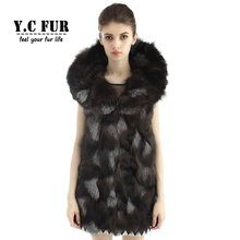 New Arrival Real Fur Waistcoats Female Pieces Of Natural Fox Fur Vest With Large Collar Women's Vest Winter YC1107