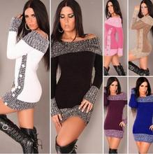 New Winter Sweater Women Sexy Off Shoulder Color Block Sweater Dress Buttons Knitted Long Pullover Top sweater women