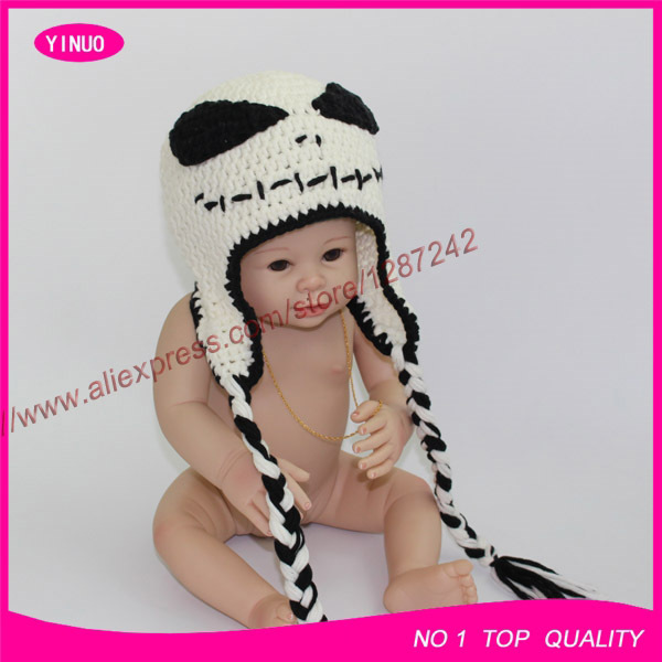 New Crochet Angry Jack Skellington baby monster Hats cap With Ear Flaps and Braided Tassels-in Hats u0026 Caps from Mother u0026 Kids on Aliexpress.com | Alibaba ...  sc 1 st  AliExpress.com & New Crochet Angry Jack Skellington baby monster Hats cap With Ear ...