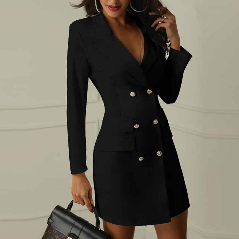 Офисное платье женское элегантное белое Формальное стильное офисное платье Женская Осенняя новая одежда с длинным рукавом Бизнес Черное мини сексуальное облегающее платье