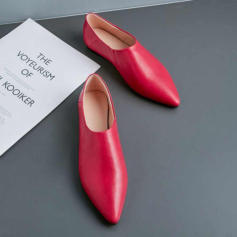 Krazing 냄비 부드러운 정품 가죽 슬립 지적 발가락 여성 플랫 봄 가을 아파트 플러스 크기 간결한 브랜드 운전 신발 l6f1-에서여성용 플랫부터 신발 의  그룹 2