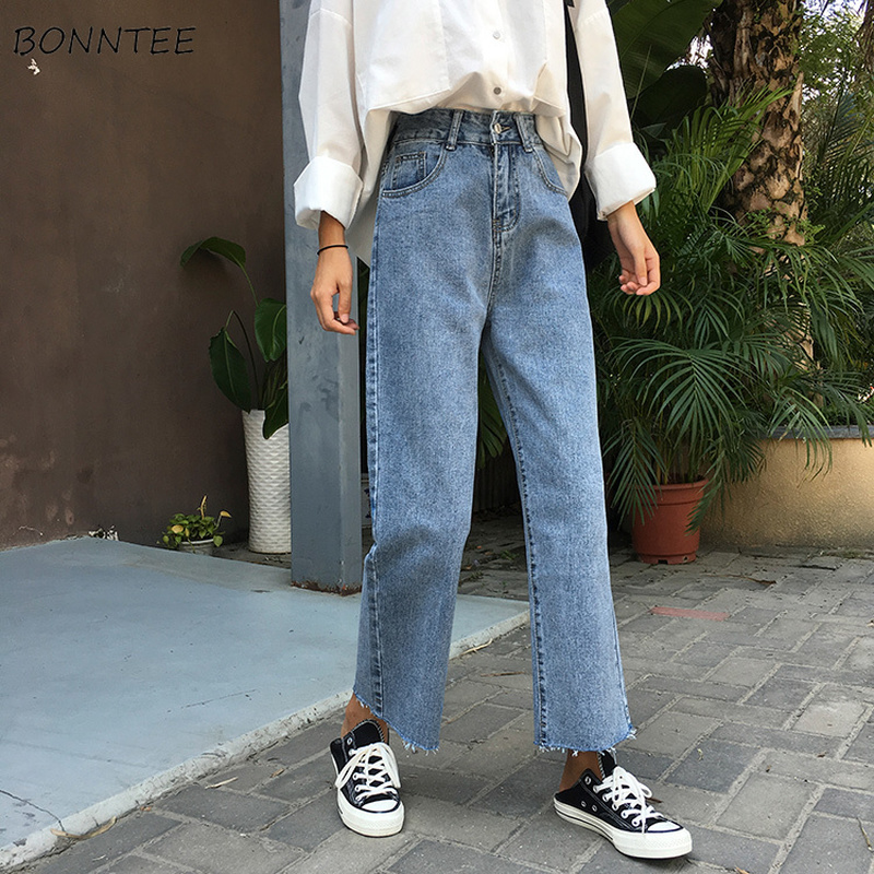 Jeans Women Summer Retro Student High Straight Trousers Pocket Womens Ankle-Length Jean Trendy Korean All-match Casual Denim New