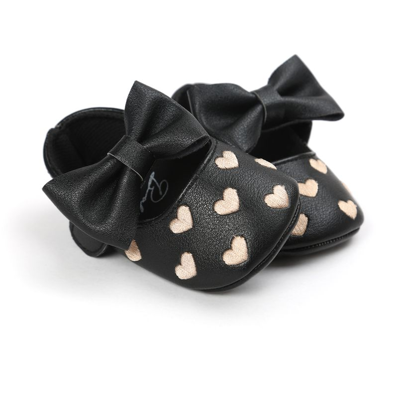 Princess Heart-Shape Big Bow Leather Baby Shoes