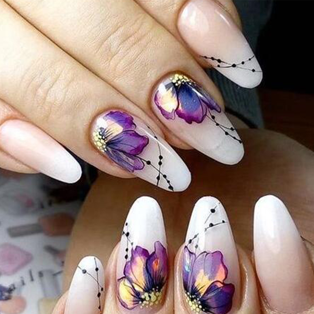 ee47ad21126e 1pcs Nail Sticker Butterfly Flower Water Transfer Decal Sliders for Nail  Art Decoration Tattoo Manicure Wraps ...