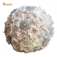 Rose Bouquets With Plears Crystals Shinny Bridal Accessory Champagne Flower Wedding Bouquet Holder buque casamento P015
