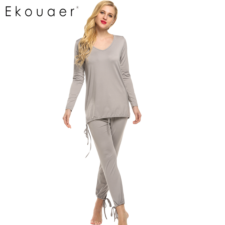 Ekouaer Spring Autumn Women Pajamas Sets Casual V Neck ...