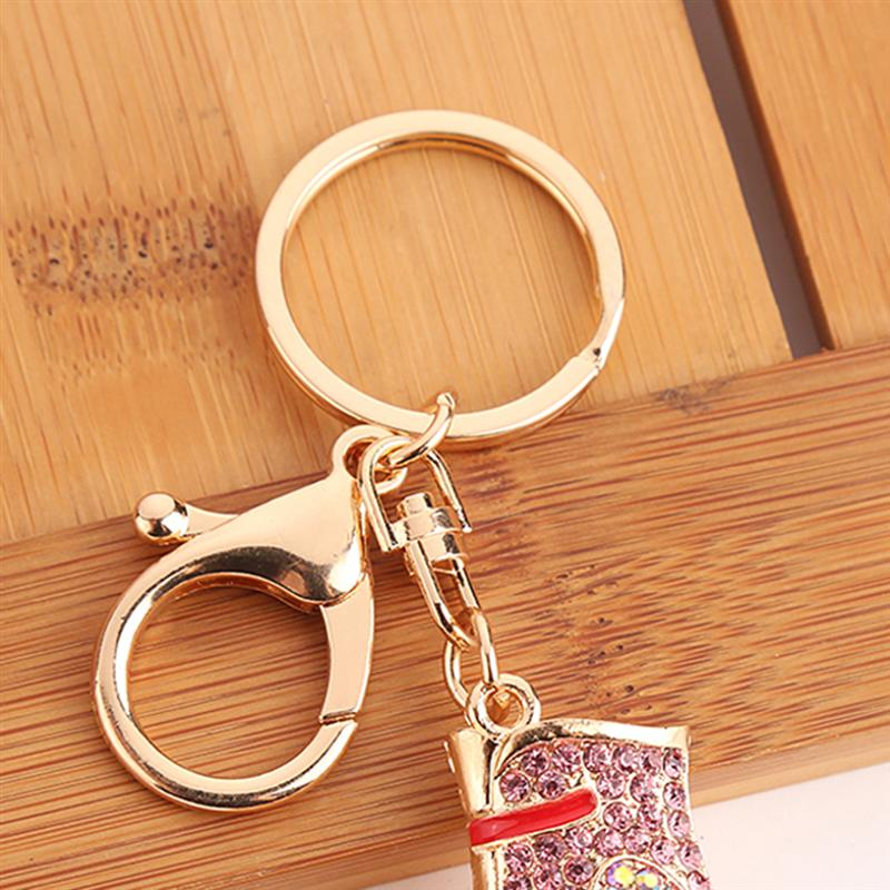 1 PC Diamond Encrusted Alloy Key Ring Roller Skate Shaped Charm Keychain Bag Pendant Jewelry Accessories Car Decoration in Party Favors from Home Garden